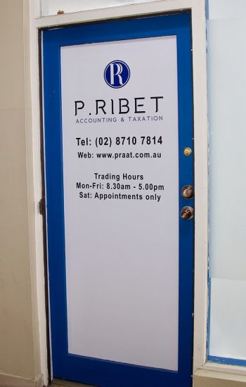 Office entrance door to P.Ribet Accounting & Taxation