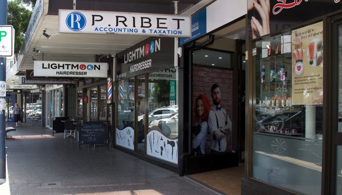 Street footpath view of P.Ribet Accounting & Taxation office in Revesby, NSW, Australia