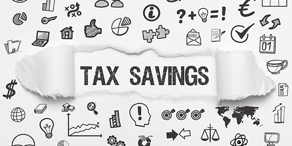 """Stock graphic """"Tax Savings"""" with finance icons"""